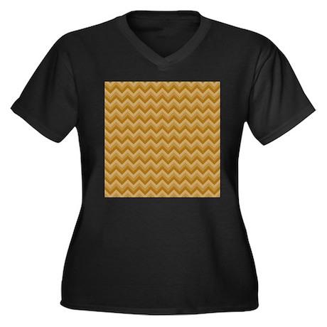 Brown Zigzag Pattern. Women's Plus Size V-Neck Dar
