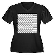 Zigzags in Gray. Women's Plus Size V-Neck Dark T-S