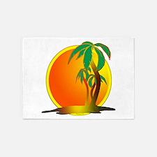 palm tree sunset 5'x7'Area Rug