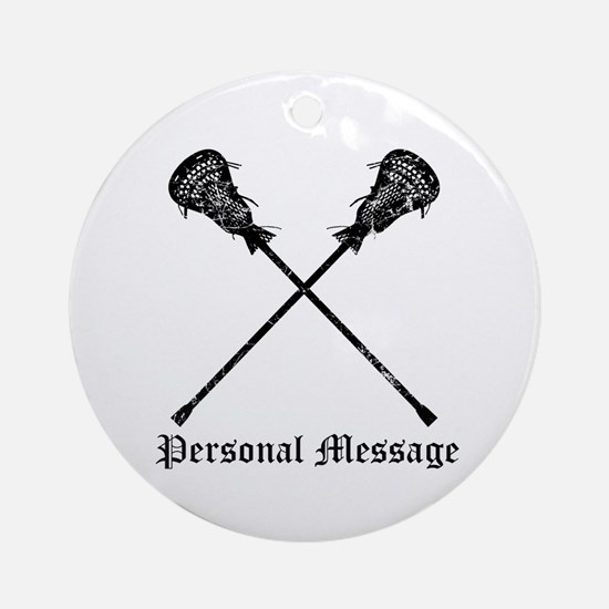 Personalized Lacrosse Sticks Ornament (Round)