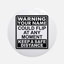 Personalized Gymnastic Warning Ornament (Round)