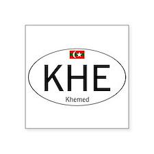"""Car code Khemed White Square Sticker 3"""" x 3"""""""