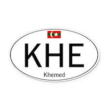 Car code Khemed White Oval Car Magnet