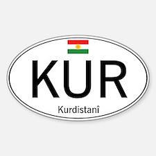 Car code Kurdistan - White Sticker (Oval)