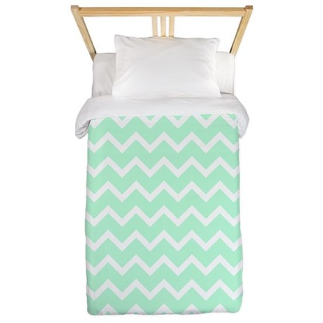 Mint Green Zigzags Twin Duvet By Metarla