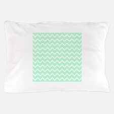 Mint Green Zigzags. Pillow Case