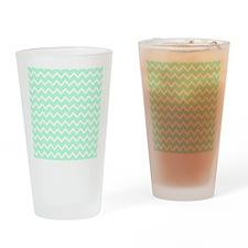 Mint Green Zigzags. Drinking Glass