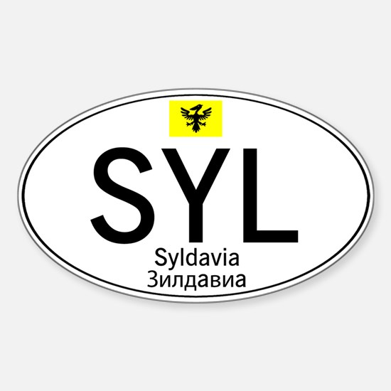 Car code Syldavia - White Sticker (Oval)