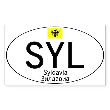 Car code Syldavia - White Sticker (Rectangle)
