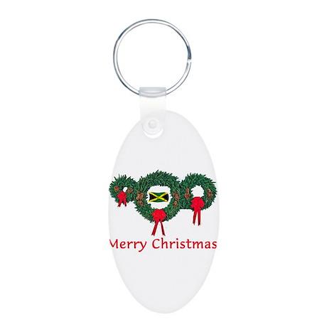Jamaica Christmas 2 Aluminum Oval Keychain