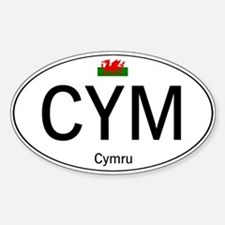 Car code Wales - White Sticker (Oval)
