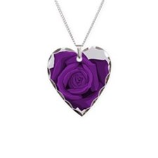 Purple Rose Necklace Heart Charm