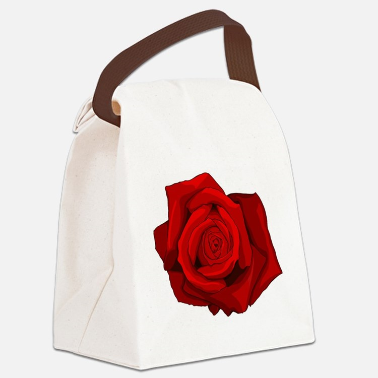 Red Rose Canvas Lunch Bag