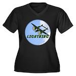P-38 Lightning Women's Plus Size V-Neck Dark T-Shi
