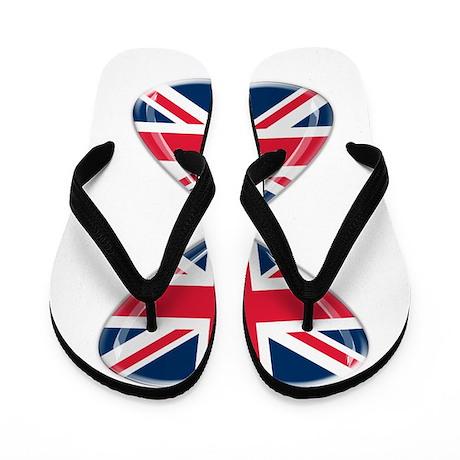 UK Hearts Flag Art Flip Flops