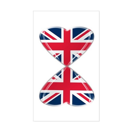 UK Hearts Flag Art Sticker (Rectangle)