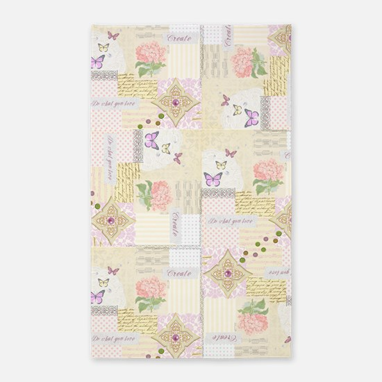 Girly pastel vintage collage 3'x5' Area Rug