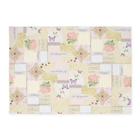 girly pastel vintage collage 5 39 x7 39 area rug by
