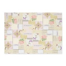 Girly pastel vintage collage 5'x7'Area Rug