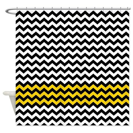black gold chevrons zigzag Shower Curtain