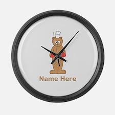 Custom Name. Baking Cartoon. Large Wall Clock