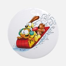 SLEDDING FUN! Ceramic Ornament (Round)