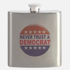 DEMOCRAT POLITICAL BUTTON Flask