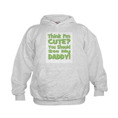 Think I'm Cute? Daddy Green Kids Hoodie