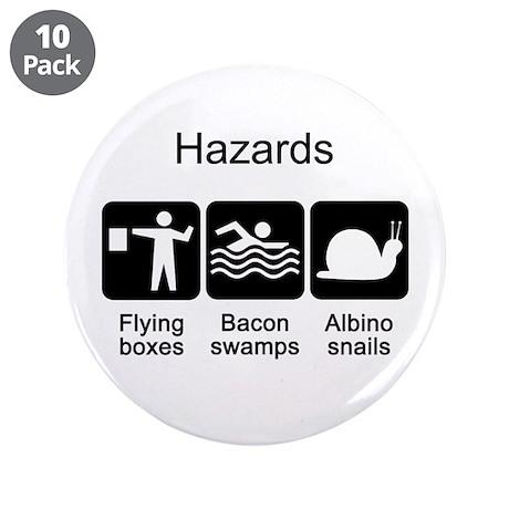 """Geocaching Hazards 3.5"""" Button (10 pack)"""
