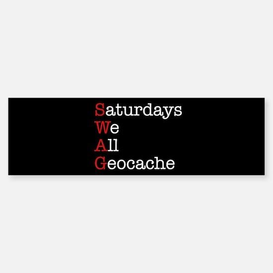 Saturdays we all geocache Sticker (Bumper)