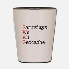 Saturdays we all geocache Shot Glass