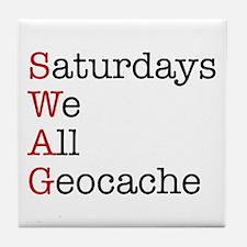 Saturdays we all geocache Tile Coaster