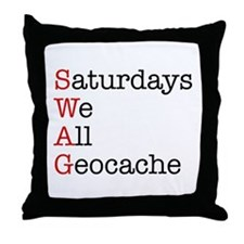 Saturdays we all geocache Throw Pillow