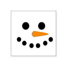 """Snowman Face Square Sticker 3"""" x 3"""""""