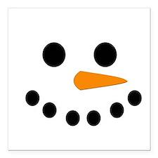 """Snowman Face Square Car Magnet 3"""" x 3"""""""