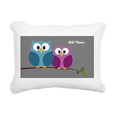 cute owls on branch Rectangular Canvas Pillow