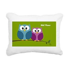 cute owls on branch green Rectangular Canvas Pillo