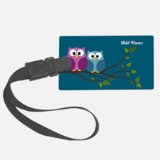 cute owls on branch name Luggage Tag