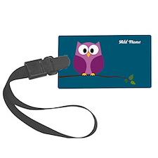 cute owls on branch purple Luggage Tag