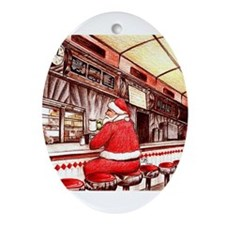 Cool Santa claus jersey Ornament (Oval)