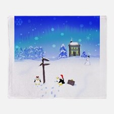 Penguins Meet Santa! Throw Blanket