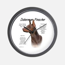 Red Doberman Pinscher Wall Clock