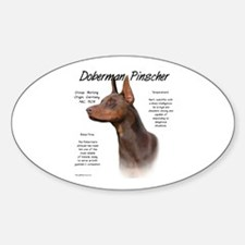 Red Doberman Pinscher Oval Decal