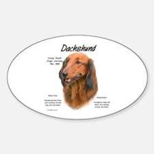 Longhaired Dachshund Oval Decal