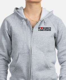 My Heart Belongs To A Crane Operator Zipped Hoody
