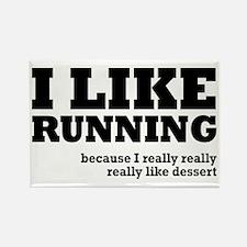 I Like Running and Dessert Rectangle Magnet