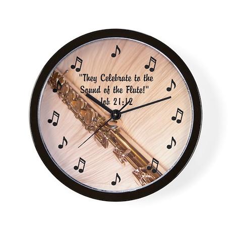 Flute Sounds/Scripture Job 21:12 Wall Clock by JuliesJoy