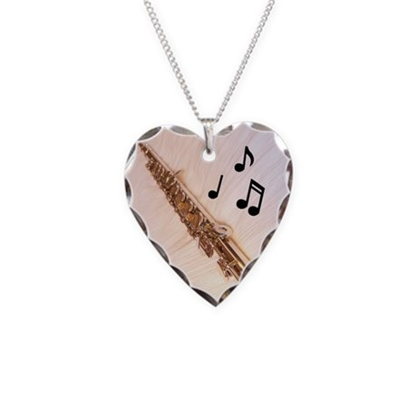 Flute Notes Necklace Heart Charm