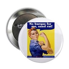 No Burqas Rosie Riveter Button