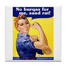 No Burqas Rosie Riveter Tile Coaster